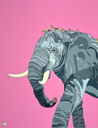 Elephant II by Dylan Izaak - Original Painting on Aluminium sized 28x36 inches. Available from Whitewall Galleries